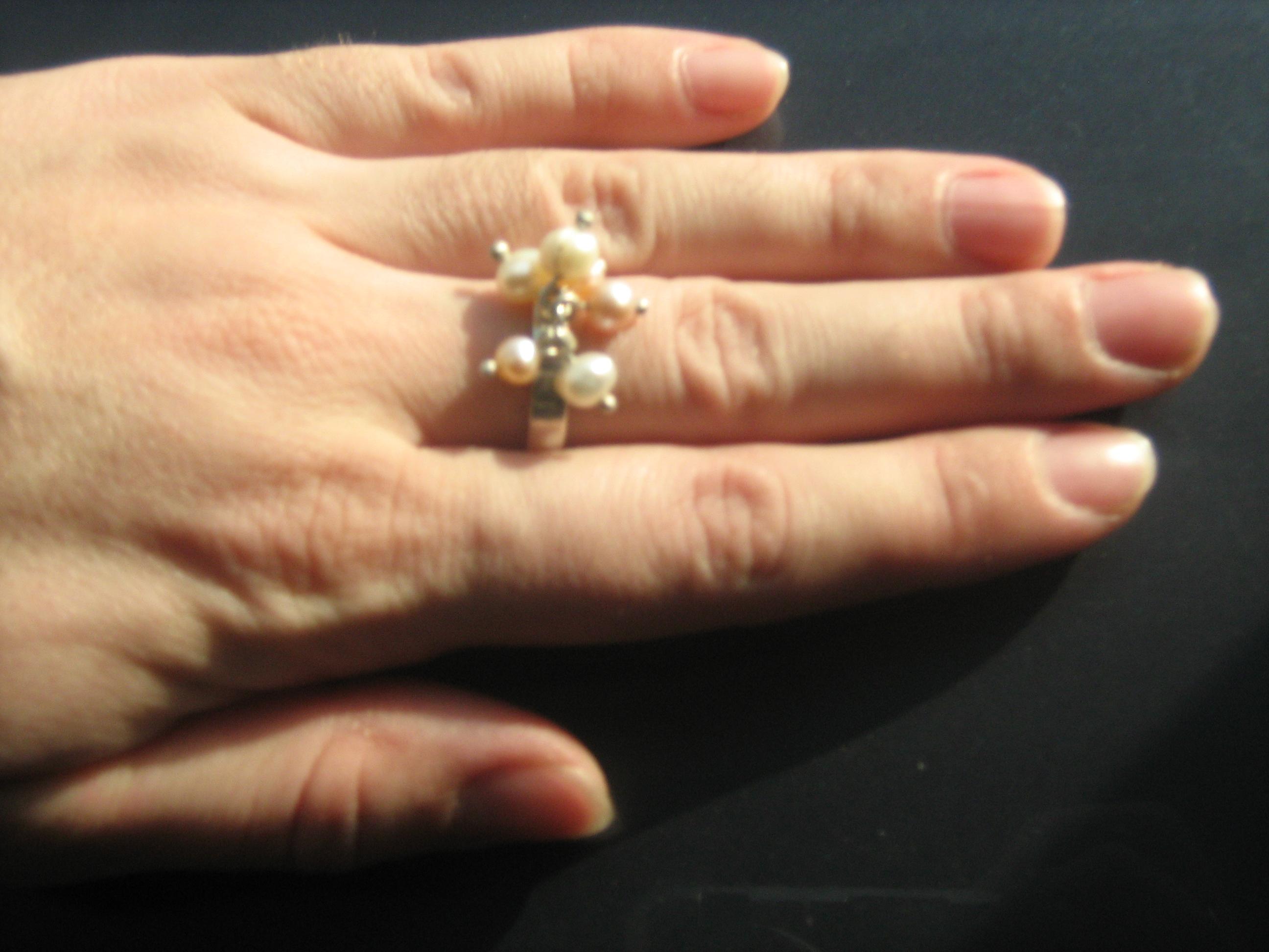 Inel Argint Buchet Perle Pietre Semipretioase Cristale Naturale Bijuterii